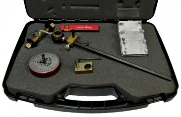 Close up of Flange Wizard Burning Guides Kit items in case
